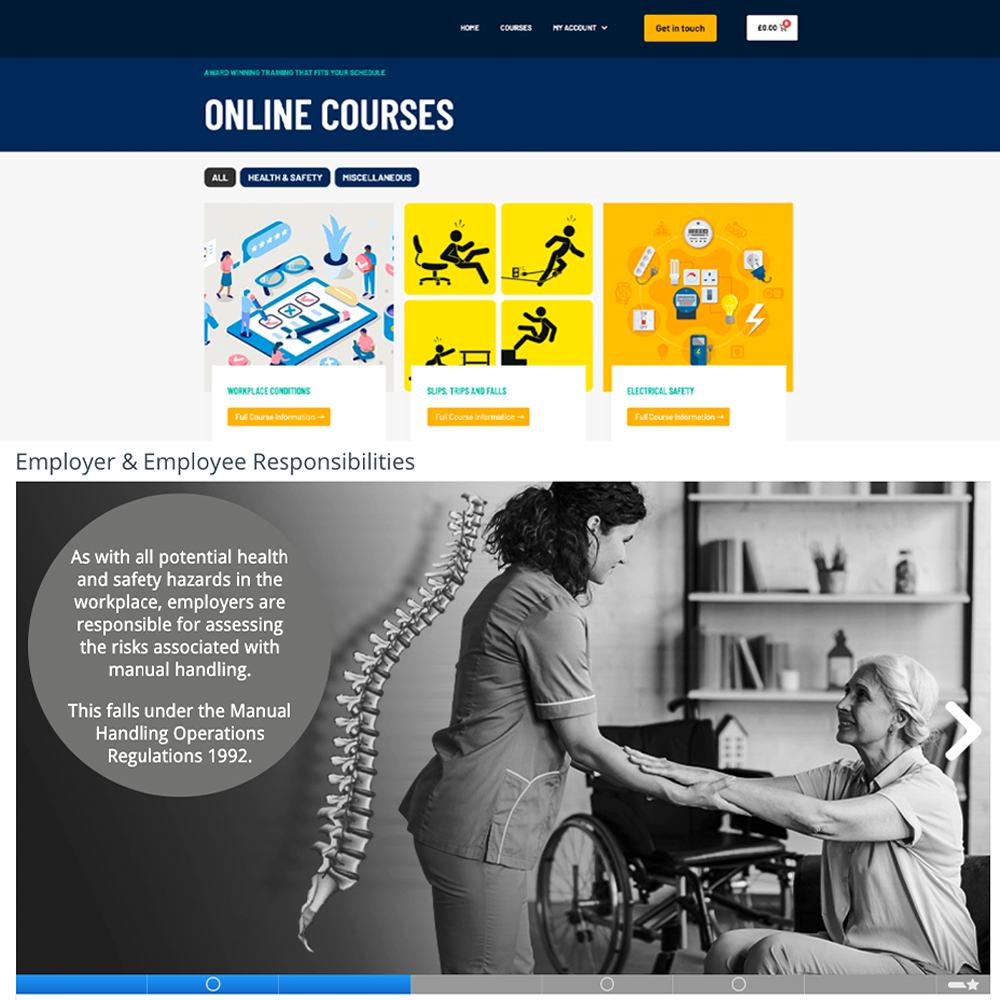 Screenshot of the Knowledge Push online training system