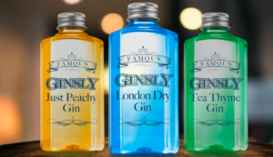 Illustration of three Ginsly Gin bottles.